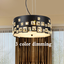 ZX Modern LED Crystal Dining Room Pendant Lamp Contracted Circular Three-color Dimming Lighting Personality Living Room Lamp