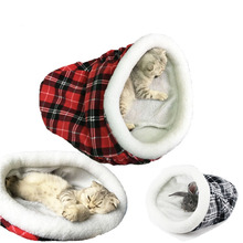 Winter Warm Soft Short Plush Christams Cap Shape Pet Sleeping Bag Puppy Dog Cat Cage Rabbit Kitty Bed Play Toy Gift(China)
