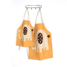 New Parent-child Apron Hemp Material Elephant Pattern Kids Painting Tablier Delantal de Cocina Gift for Kids