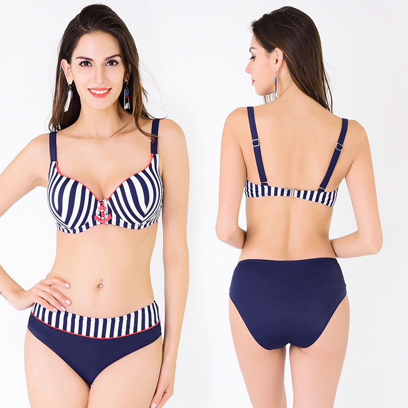 Sexy Brazilian Plus Size Low Waist Push Up Bikini Set Striped Print Bathing Suits Swimsuit 2017 Swimming Suit for Women FD81638<br><br>Aliexpress