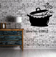 Kitchen Restaurant Decoration Pots and Fry Pans Cooking Kettle Cuisine Wall Sticker Vinyl Decal Waterproof Wall Stickers ZB006