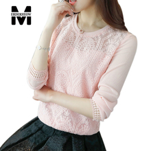 Merderheow 2017 Spring Korean style Women long sleeve Casual Shirt Top quality Patchwork Lace Chiffon Blouse Tops Plus Size L212(China)