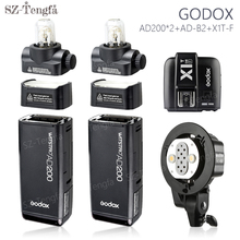 Godox AD200 200Ws TTL HSS wireless Flash Speedlite Pocket Flash Light x2 with AD-B2 Double tubes Light Head Bracket and X1T kit(China)