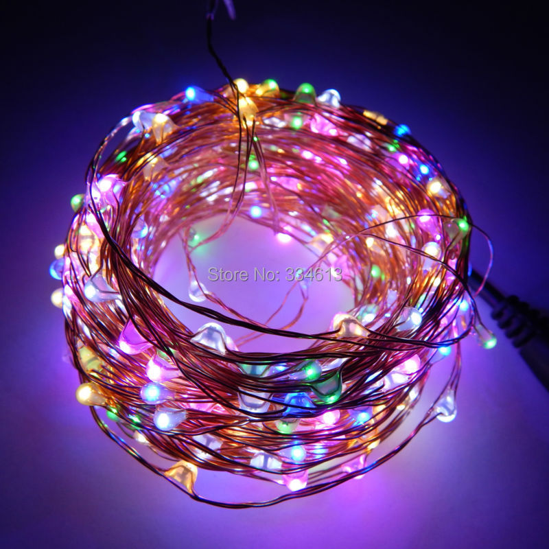 6 Colors Led Copper Wire Lights DC 12V Christmas String Fairy Lights Holiday Lighting 20M 400 LED Strip with power adapter<br>