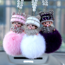 Hot Cute Cartoon Monchichi Doll Keychain Rhinestone Girl Inlay Crystal Car Key ring holder Women Bag charm Accessories