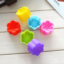 12PCS Gifts Cake Mould Bakeware Cake Tool Silicone Soft Plumeria rubra Cake Muffin Chocolate Cupcake Liner Baking Cup Mold #614(China)