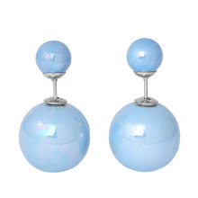Doreen Box Pearl Created Double Sided Ear Post Stud Earrings Ball Steel Gray AB Color 8mm Dia. 16mm Dia.,1 Pair