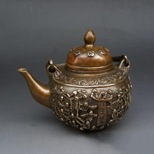 Copper pots Baizi birthday pot  teapot home decoration antique craft collection