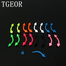 free shipping mixed 8 neon colors 100pcs 1.2*8*3mm surgical Stainless Steel spike curved piercing eyebrow ring(China)
