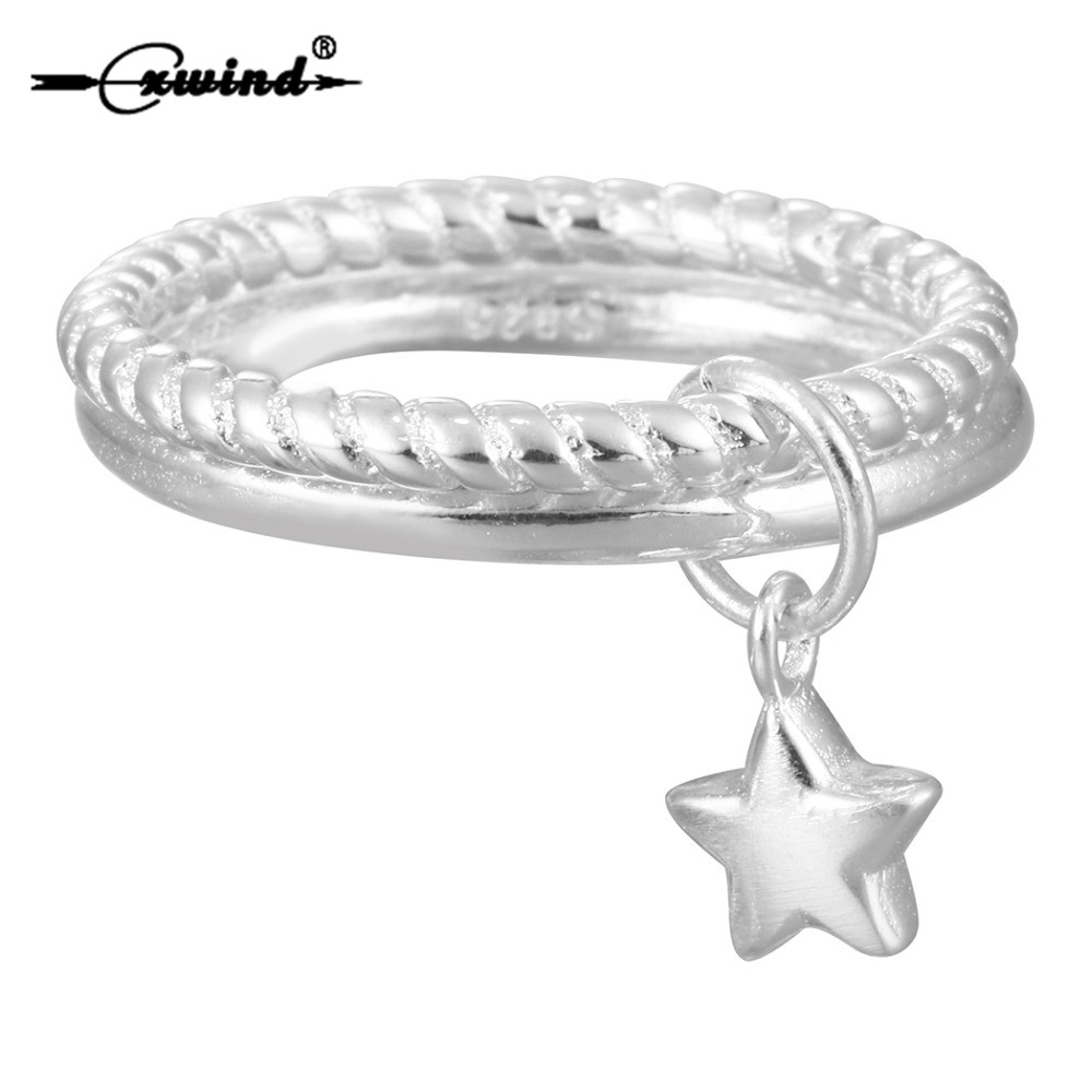 Cxwind New Silver Stars Pendant Double Layer Rings for Women Lovely Girls Christmas Gift Statement Twist Round Jewelry