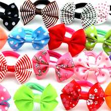 "10pcs/lot 2.5"" Solid Print Samll Ribbon Bow Elastic Hair ropes Kids Hair ties Adorable Ponytail Holder Girl Hair Accessories"