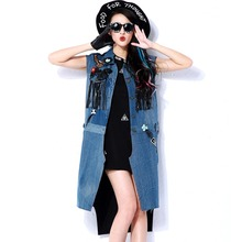 BringBring 2017 Spring Fashion Patch Designs Eagle Long Vest Women With Tassel and Lace Herringbone Vest Gilet Long 1781
