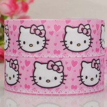 "50 yards 7/8 "" 22 mm cute pink hello kitty print grosgrain tape cartoon ribbons hair bow free shipping"
