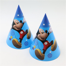 10pcs cartoon Mickey mouse hat Caps with strings happy birthday party decoration supplies kids favor party caps/headdress(China)