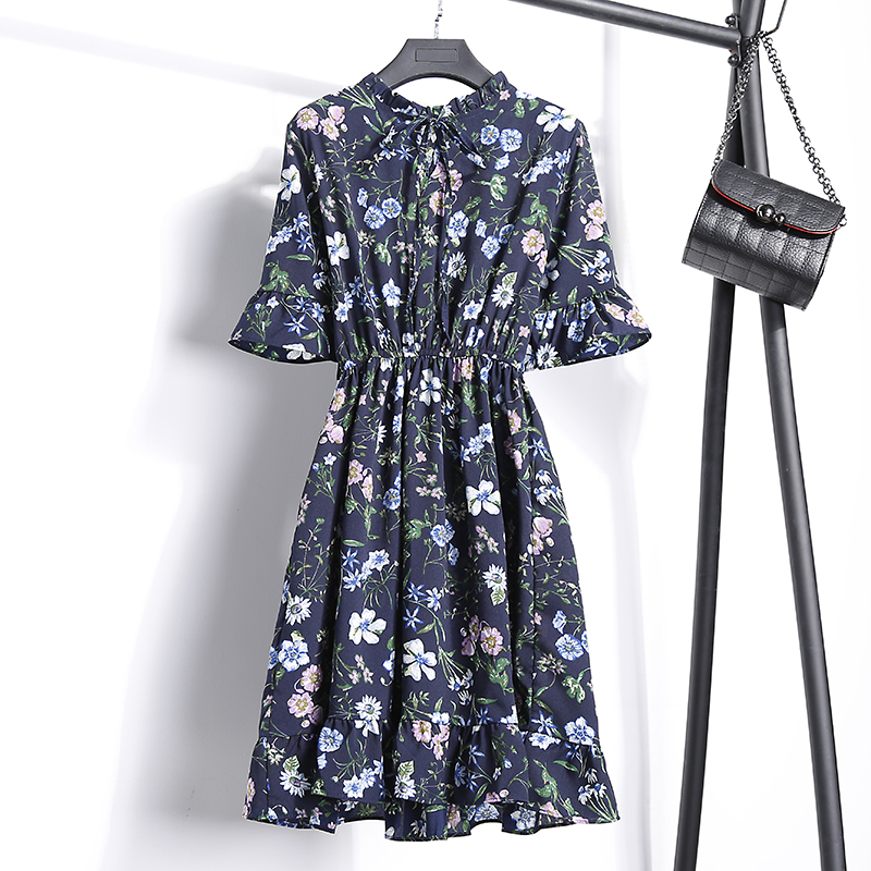 2018 Free Shipping New Fashion Floral Chiffon Summer Dresses Sweet Thin Word Slim Women Work Wear Print Dress Casual Cute Hot 13