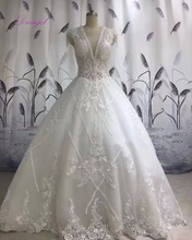 Buy Dreagel Vestido de Noiva Deep V-neck Beaded Ball Gown Wedding Dress 2017 Fashion Appliques Princess Wedding Gown Robe De Mariage for $270.74 in AliExpress store