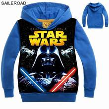STAR WARS 3 To 11 Ages Cotton Children Kids Boys Shirts With Hooded Boys Baby Outerwear Clothing Spring 2017 New Child T Shirts