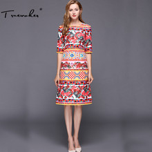 Truevoker Summer Designer Dress Women's High Quality Noble Half Sleeve Fancy Flower Printed Jacquard Knee Length Dress