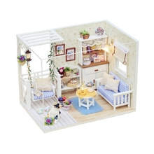 H - 013 Cutest Dolls House DIY Wooden Dollhouse Furniture Handcraft Miniature Box Kit with Cover LED Light - Cat Diary