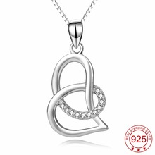 PYX0227 100% Real Pure 925 Sterling Silver Cross Love Heart Crystal Pendant Necklace Collier Fashion Jewelry For Women