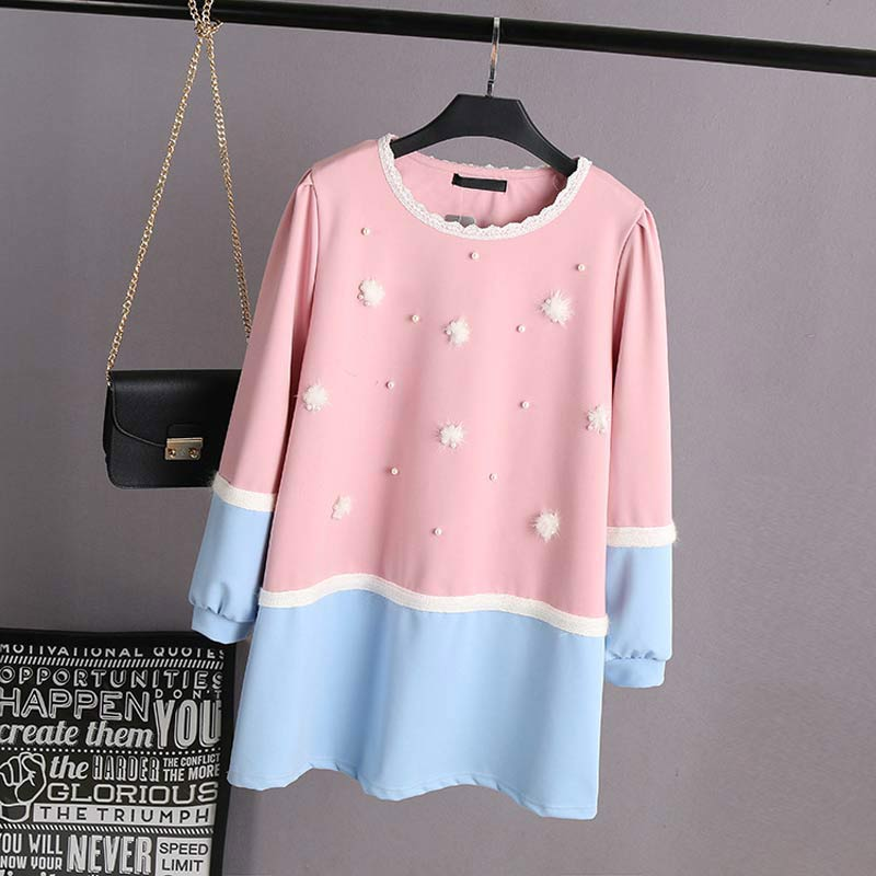 F0 Spring Casual Women Dresses 4XL Plus Size Clothes Polyester Ponte-de-roma Fashion Beading Block color Puff Sleeve Dress 129(China)