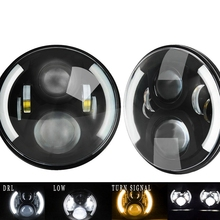 1pair 7inch 60W 12V-24v Hi/Lo Beam Angel Eyes Led Headlight For Offroad Harley Motorcycle Wrangler TJ JK Hummer H1 H2