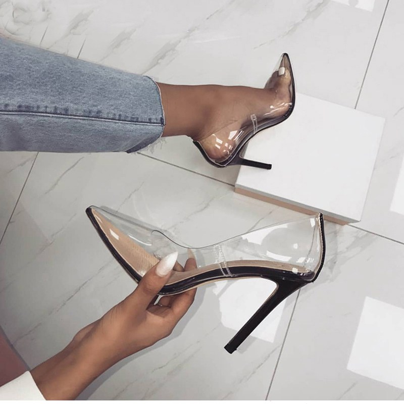 Perixire Women Pumps 2018 Transparent Super High Heels Sexy Pointed Toe Slip-on Wedding Party Shoes Lady Thin Heels Pumps
