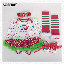 YATFIML 2017 baby clothing set leopard print baby NEW 4pcs newborn infant baby clothes Christmas outfit clothes set age 0-12m