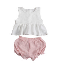 Summer 2017 Hot Newborn Infant Baby Girls Outfit Clothes Sleeveless Vest Ruffle Swing Short Pants 2pcs Fresh Solid Cute Set(China)