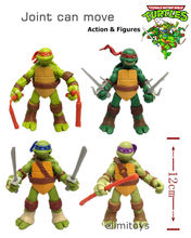 4pcs/set Turtles Action Figure PVC 12cm Collection Model Toys Animation Toys Joint Can Move Japanese Anime Figures Kids Gifts(China)