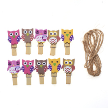 10 wooden clips socks shoelaces underwear basked wooden clamp cartoon owl wooden clip wedding party picture clip with hemp rope