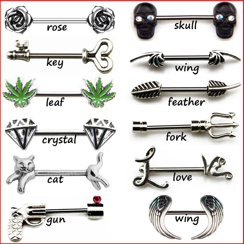 Nipple Ring Rose Flower  316L Surgical Steel Nipple Bar pair