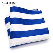 F189 Classic Men's Silk Handkerchief Vintage Hanky Woven Blue White Striped Pocket Square 25*25cm Wedding Party Chest Towel Gift(China)