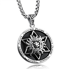 Tiamor hot popular six-pointed star totem round card necklaces pendants trendy vintage cool men jewelry Ti976
