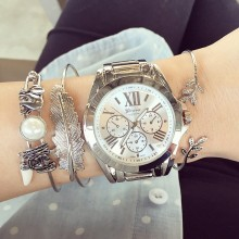 206 Top Quality Roman Numerals Oversized Bracelet Watch,Beautiful Look Classic Metal Watch Japan Movet Women Quartz Geneva Watch(China)