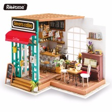 2017 Best Selling ROBOTIME Dollhouse Miniature Furniture Kit with LED Light DIY Wood Craft Coffee House Kitchen Cabinet Toys(China)