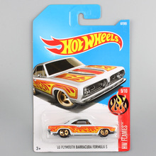 Boys hotwheels scale metal diecast flame old Plymouth barracuda chevy track mini car models toys hot wheels gifts for children