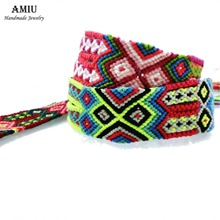 AMIU Handmade Popular Brand Bangle Big Weave Friendship Bracelet Brazilian Woven Rope String For Women Men Dropshipping Bracelet(China)