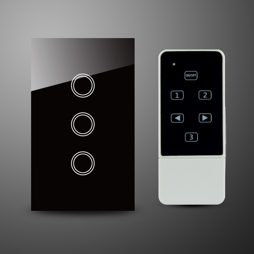 US AU Standard 3 Gang Capacitive Touch Glass Panel Electrical Touch Switch with Remote Control RF 433Mhz<br>