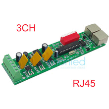 3CH Channel with RJ45 Easy DMX DMX512 LED Decoder,Controller,Dimmer,Drive For LEDs RGB Strip Light Module Node