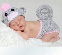 Sock Monkey Crochet Baby Hat with Diaper Cover Handmade Newborn Photography Prop Animal Design Costume Outfit 1set H041