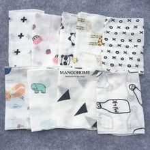Baby towel 10pcs/lot 100% cotton 28*28cm muslin towel handkerchiefs two layers wipe towel(China)