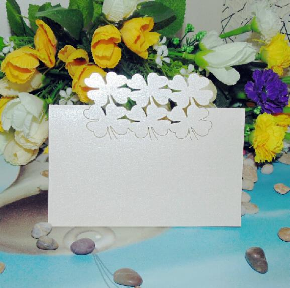 100pcs/lot Two Row Four Leaf Clover Design Paper Place Card Wedding Table Centerpiece Guest Name Card Number Holder wc429<br>