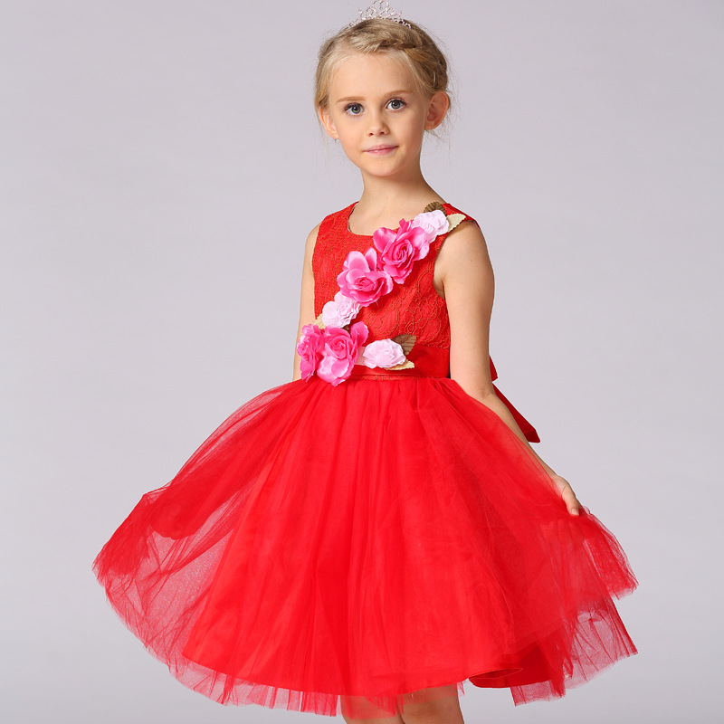 Retail 2017 new girl dress childrens summer party girl princess dress wedding dress large flower 4 colors<br><br>Aliexpress