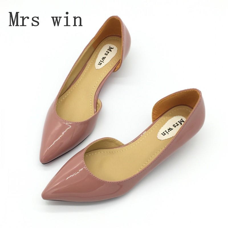 Mrs Win Spring Autumn Sexy Low Heel Shoes Pointed Toe Patent Leather Shallow Slip-On Women's Pumps Shoes Ladies Single Shoes