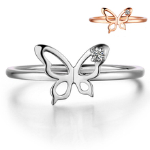 Authentic 100% 925 Sterling Silver Butterfly Ring Simple Bow Tie Adjustable Open Ring For Women Party Wedding Ring Jewelry(China)