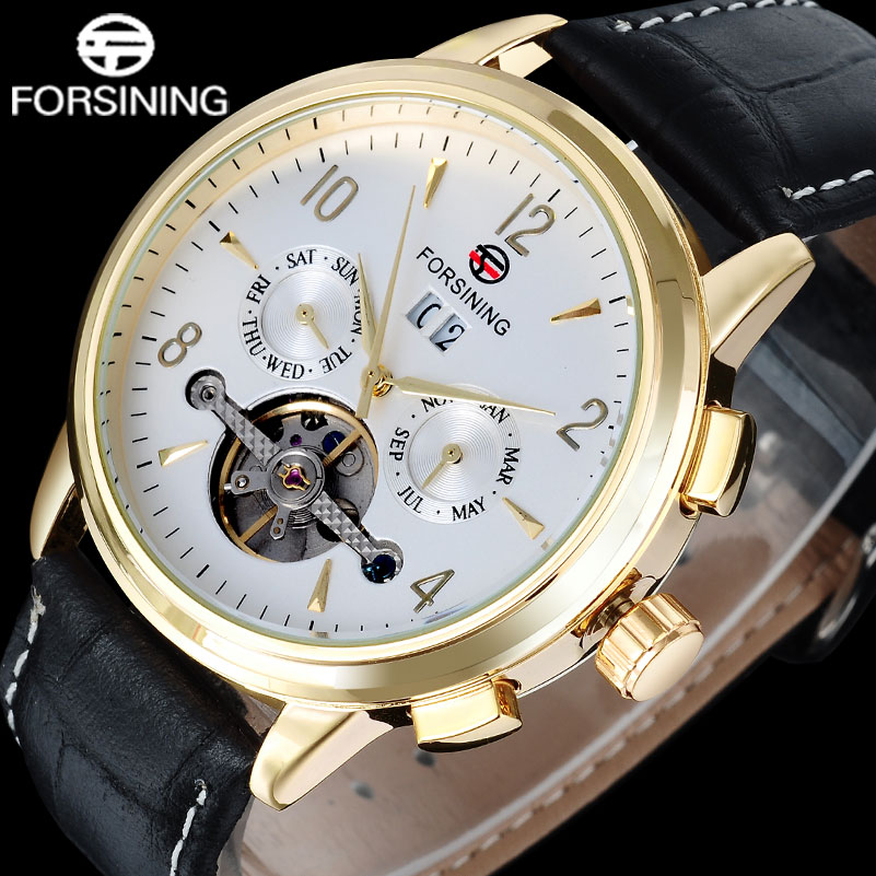 FORSINING fashion brand men mechanical tourbillion watches genuine leather strap mens luxury skeleton auto date watches relogio<br>