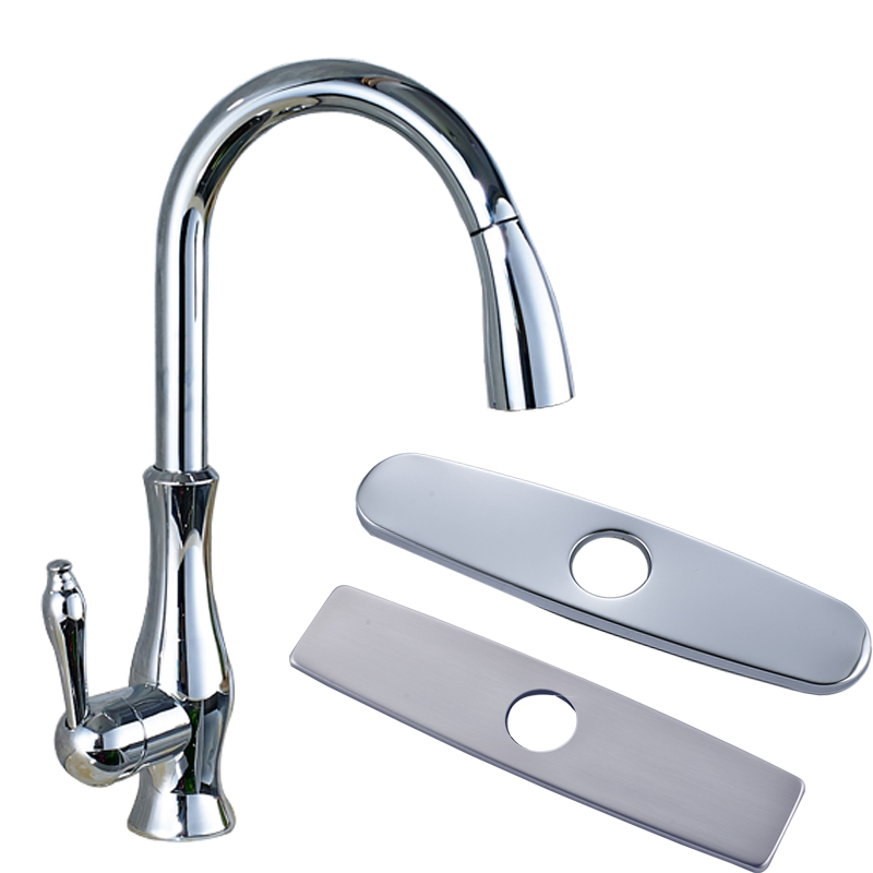 Polished Chrome Deck Mounted Single Handle Kitchen Faucet Pull Out Sprayer Kitchen Mixer Taps Brass Hole Cover Plate<br><br>Aliexpress