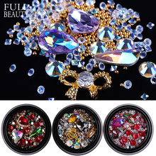 Full Beauty Mixed Styles Colorful AB Shiny Nail Art Rhinestones Metal Gems Charms Glass Crystal DIY 3D Nail Bottle Decor CH017(China)
