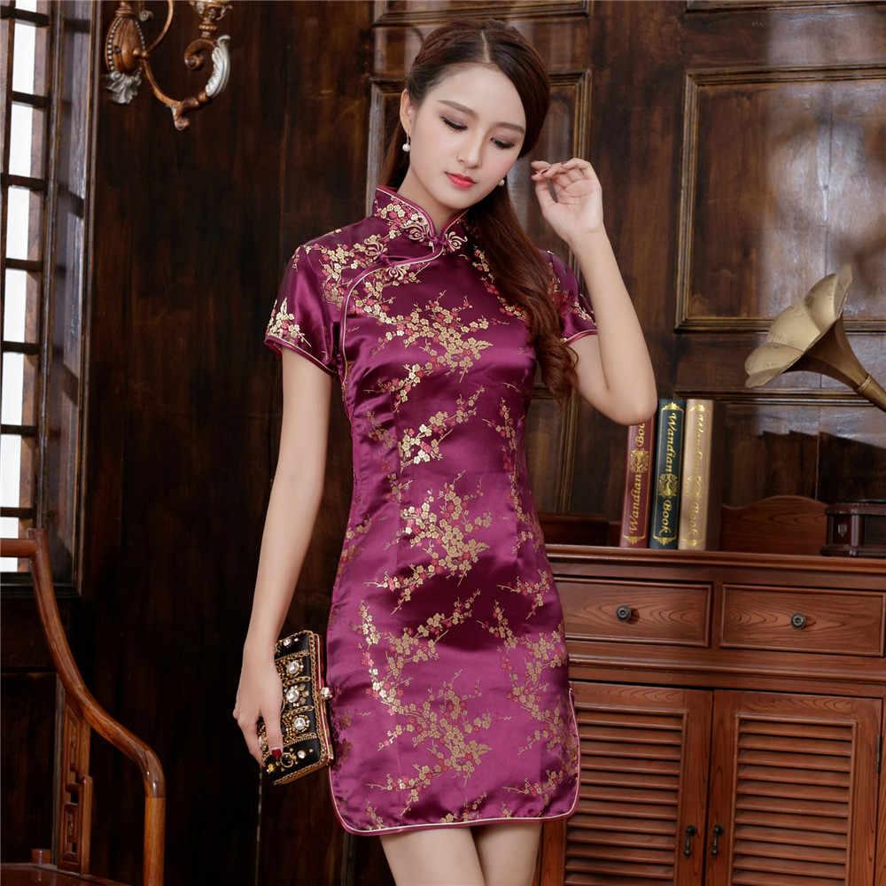 2019 New Burgundy Traditional Chinese Dress Sexy Ladies Cheongsam Classic  Satin Qipao Novelty Mini Vestidos Plus a19ddfeba73a